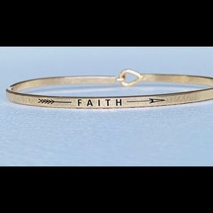 Faith thin hook bangle bracelet